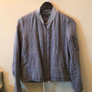 Gray linen bomber jacket